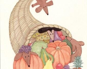 A dachshund (doxie) cornucopia / Lynch signed folk art print