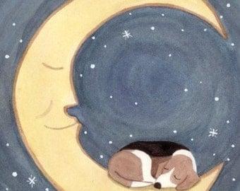 Beagle takes a nap on the moon / Lynch signed folk art print