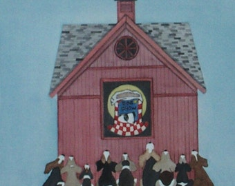 Beagles waiting patiently for bag of food on barn / Lynch signed folk art print