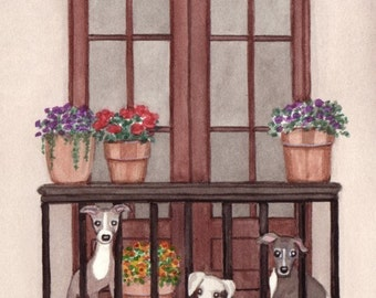 Italian greyhounds take a little sun on the balcony / Lynch signed folk art print