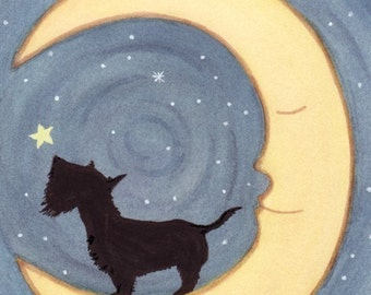 Scottish terrier (scottie) stands howling on the moon / Lynch signed folk art print