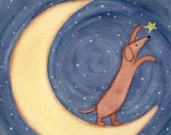 LARGE SIZE Brown dachshund (doxie) reaching for the stars / Lynch signed folk art print weiner wiener dog