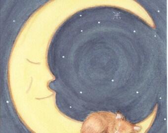 Pomeranian sleeping on the moon / Lynch signed folk art print