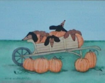 Wagon full of Dachshunds and Pumpkins at Halloween / Lynch signed folk art print Weiner/Wiener