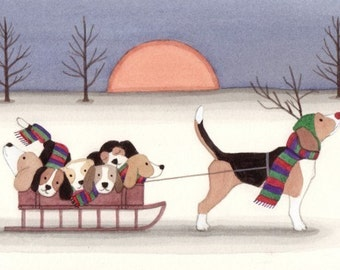 12 Christmas Cards Beagle as Rudolph pulling sled / Lynch folk art