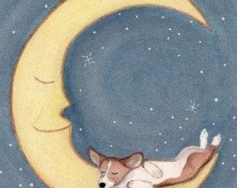 Pembroke Welsh Corgi sleeping on the moon / Lynch signed  folk art print