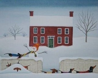 12 Christmas cards: Dachshund (doxie) family walks in front of snow-covered house / Lynch folk art