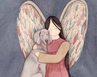 Weimaraner with angel / Lynch signed folk art print Weimeraner