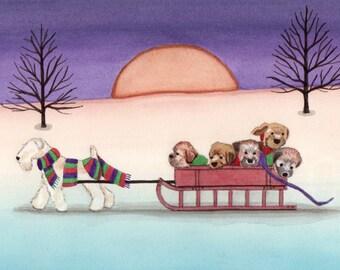 Christmas Cards: Wheaten terrier (wheatie) family going for a sled ride / Lynch folk art