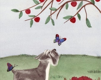 Miniature schnauzer investigates butterflies / Lynch signed folk art print