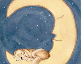 Golden retriever sleeping on the moon / Lynch signed folk art print