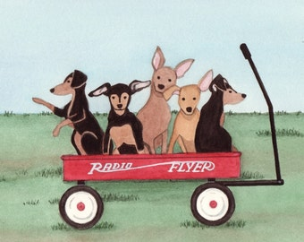 Wagon full of miniature pinschers (min pins) / Lynch signed folk art print