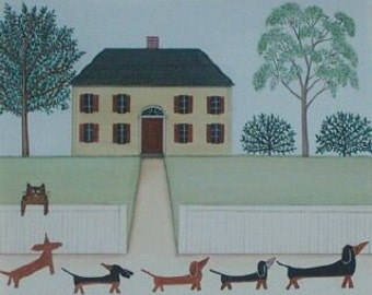 LARGER Dachshunds (doxies) on a Walk Spotted by a Cat / Lynch Signed Folk Art Print