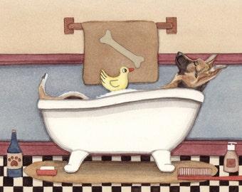 German shepherd fills tub at bathtime / Lynch signed folk art print