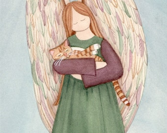 Tabby cat held by angel / Lynch signed print folk art