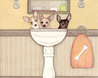 Chihuahuas fill a sink at bath time / Lynch signed folk art print
