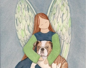 Bulldog with angel / Lynch signed folk art print