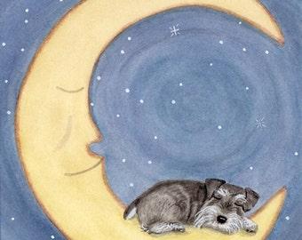 Miniature schnauzer (uncropped ears) sleeping on moon / Lynch signed folk art print