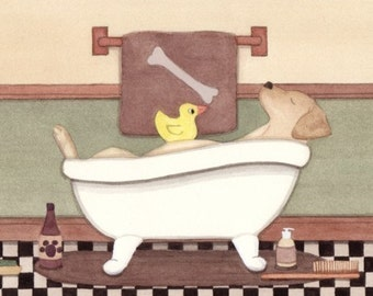 Golden lab (labrador retriever) fills tub at bath time / Lynch signed folk art print