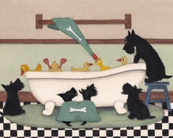 Scottish terriers (scotties) on the prowl for ducks at bath time / Lynch signed folk art print