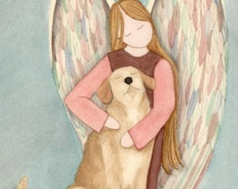 Golden Retriever with Angel / Lynch signed folk art print