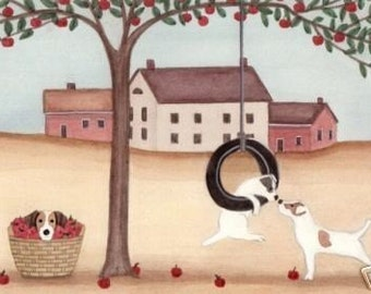 Jack Russell Terriers (JRT / Parsons) enjoy apple harvest time / Lynch signed folk art print