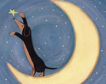 LARGE Black and tan dachshund (doxie) reaching for the stars / Lynch signed  folk art print weiner wiener dog