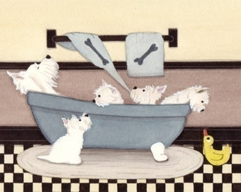 West highland terriers (westies) fill tub at bath time / Lynch signed folk art print