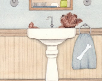 Yorkshire terrier (yorkie) bathing in a sink / Lynch signed folk art print