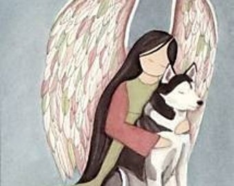 Siberian Husky with Angel / Lynch signed folk art print