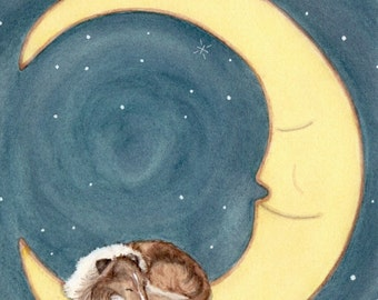 Shetland sheepdog (sheltie) sleeping on the moon / Lynch signed folk art print