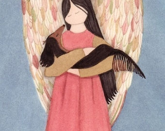 Black long-haired dachshund (doxie) with Angel / Lynch signed folk art print Weiner dog