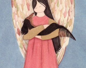 Black long-haired dachshund (doxie) cradled by angel / Lynch signed folk art print Weiner dog