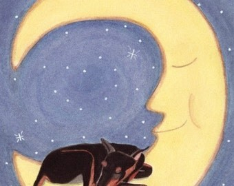 Doberman pinscher sleeping on moon / Lynch Signed Folk Art Print