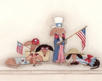 Patriotic dachshunds (doxies) / Lynch signed folk art print Weiner/Wiener Dog