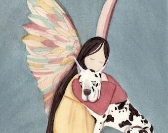 Harlequin Great Dane with angel / Lynch signed folk art print