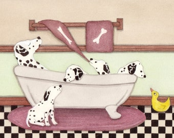 Dalmatians fill tub at bath time / Lynch signed folk art print Dalmation