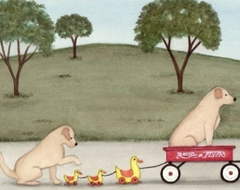 Golden Yellow Labrador (lab) family takes wagon ride / Lynch signed folk art print
