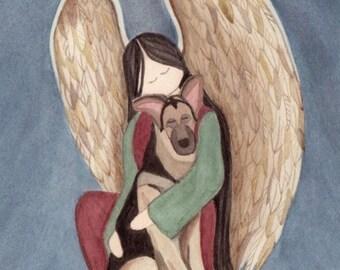 German Shepherd with Angel / Lynch signed folk art print