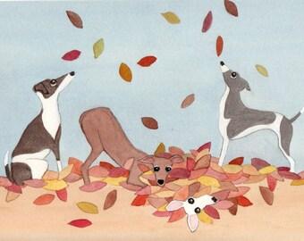Italian greyhounds frolic in a leaf pile / Lynch signed folk art print