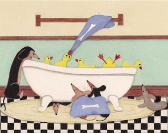 Dachshunds (doxies) share bathtub with ducks / Lynch signed folk art print Weiner/Wiener Dog