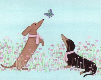 Dachshunds (doxies) in pink ribbons befriend butterfly / Lynch signed folk art