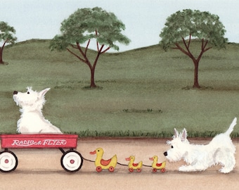 West highland terriers (westies) wait for wagon ride / Lynch signed folk art print