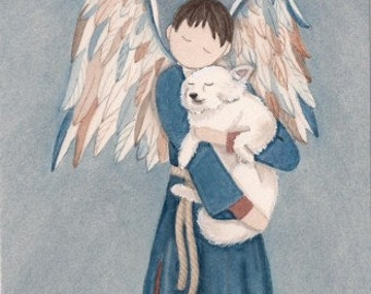 American eskimo cradled by  boy angel / Lynch signed folk art print
