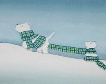 Westies (west highland terriers) wrapped up in scarf for winter / Lynch signed folk art print
