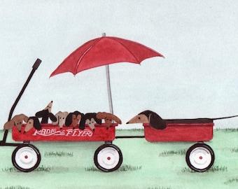 Dachshund (doxie) mom keeps eye on pups in wagon / Lynch signed folk art print