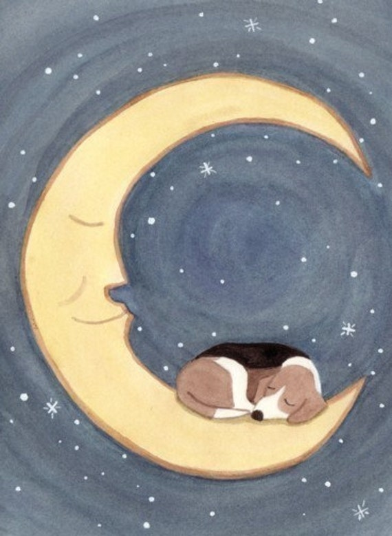 Beagle takes a nap on the moon / Lynch signed folk art print