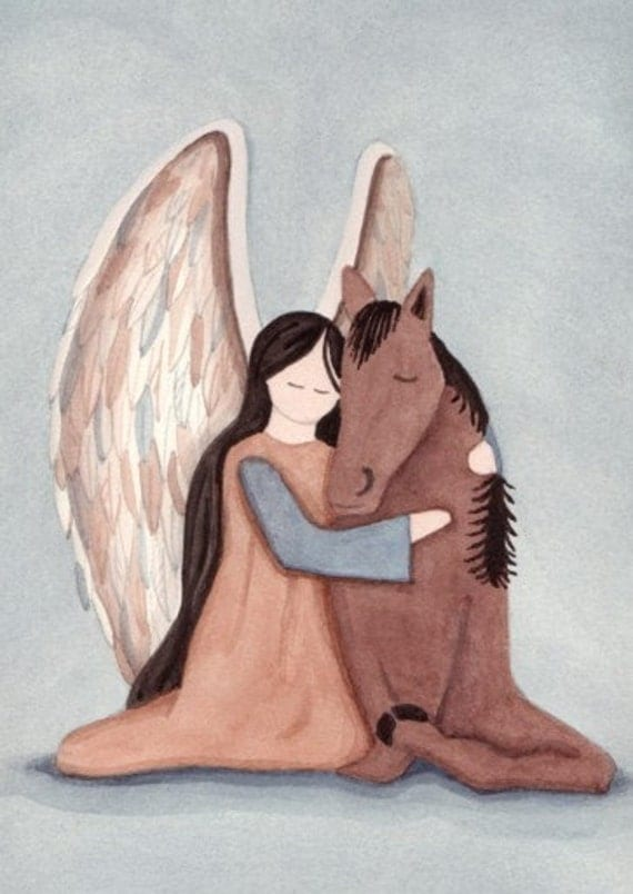 Thoroughbred race horse with angel (in salmon gown) / Lynch signed folk art print