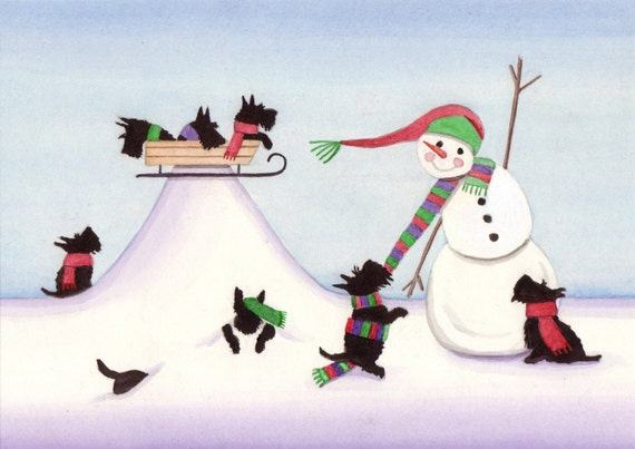 Scottish Terriers (Scotties) and Snowman / Lynch signed folk art print