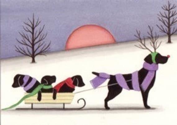 Black Labrador (black lab) family goes for sled ride / Lynch folk art